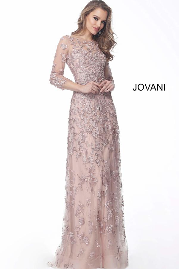 Pink Three Quarter Sleeve Embellished Mother of the Bride Dress 59376
