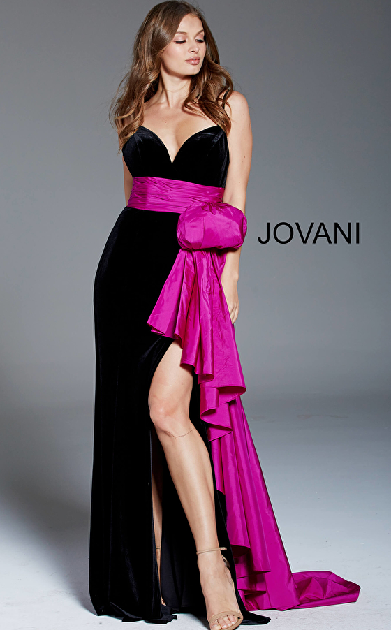 Jovani 60319 Black Green Spaghetti Straps High Slit Velvet Evening Dress