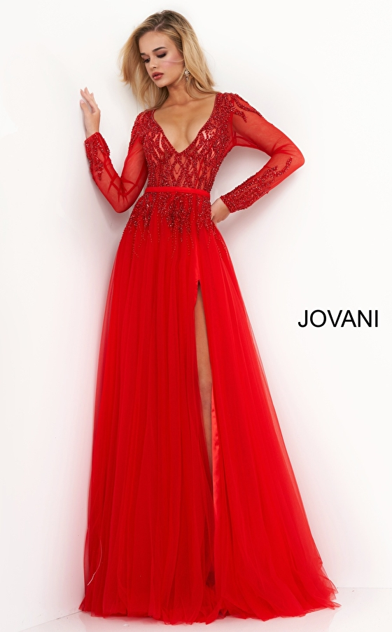 jovani Jovani 60325 Red Embellished Long Sleeve Evening Gown