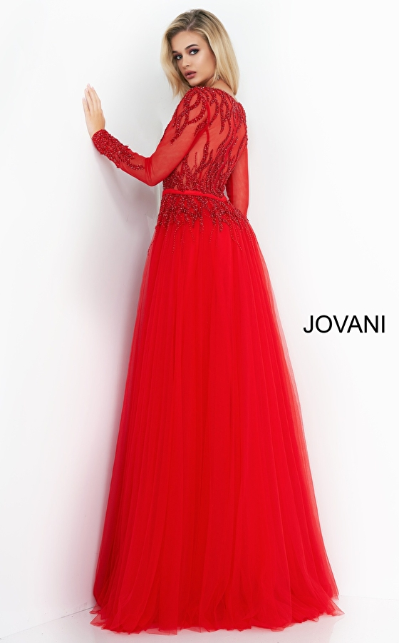 Red embellished bodice Jovani evening gown 60325