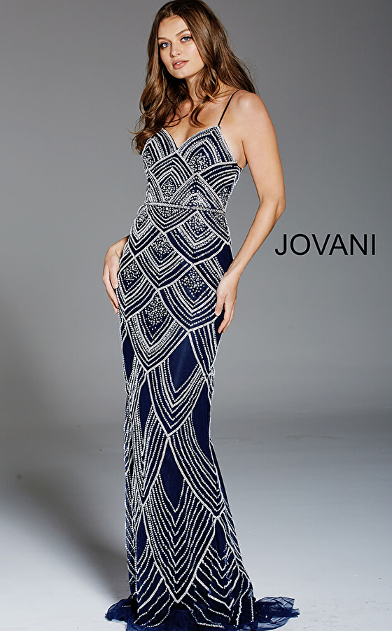 Jovani 60653 Navy Beaded Spaghetti Straps Fitted Formal Dress