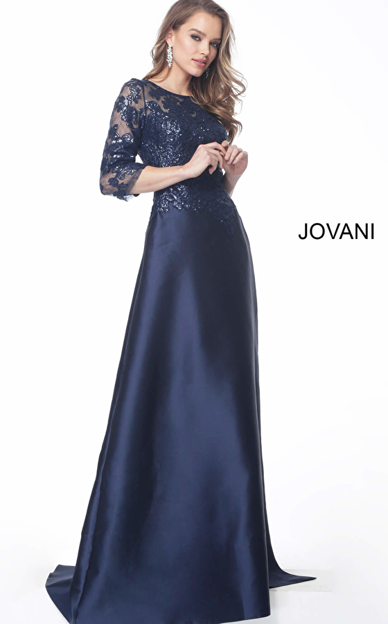 Jovani 61170 Navy Three Quarter Sleeve Embellished Evening Dress