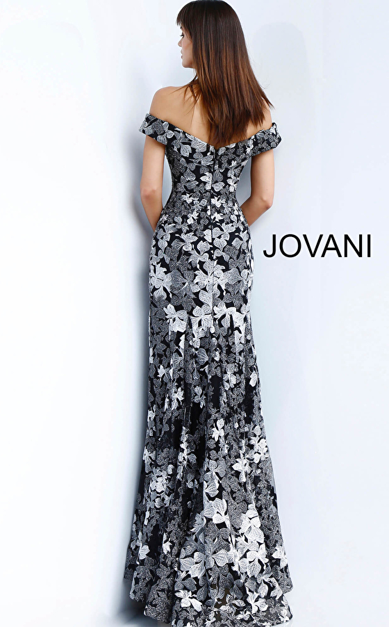 Jovani black and grey floral embroidered evening dress 61380
