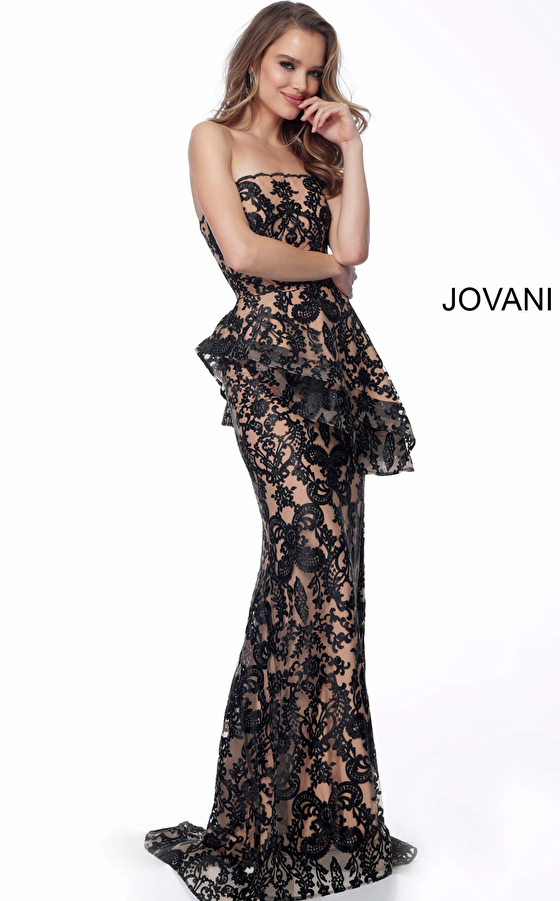 Jovani 61524 Black Nude Strapless Fitted Evening Dress