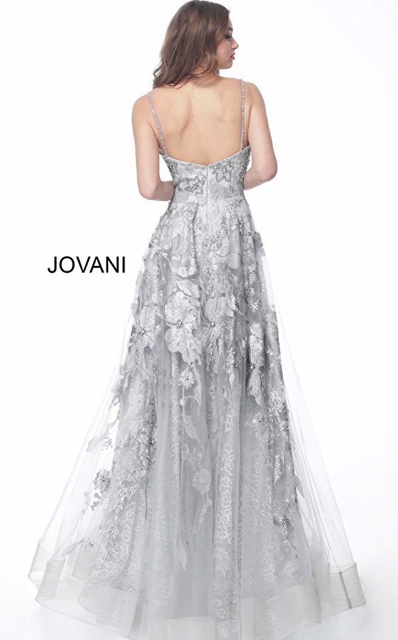 Jovani silver embroidered long evening dress 62405