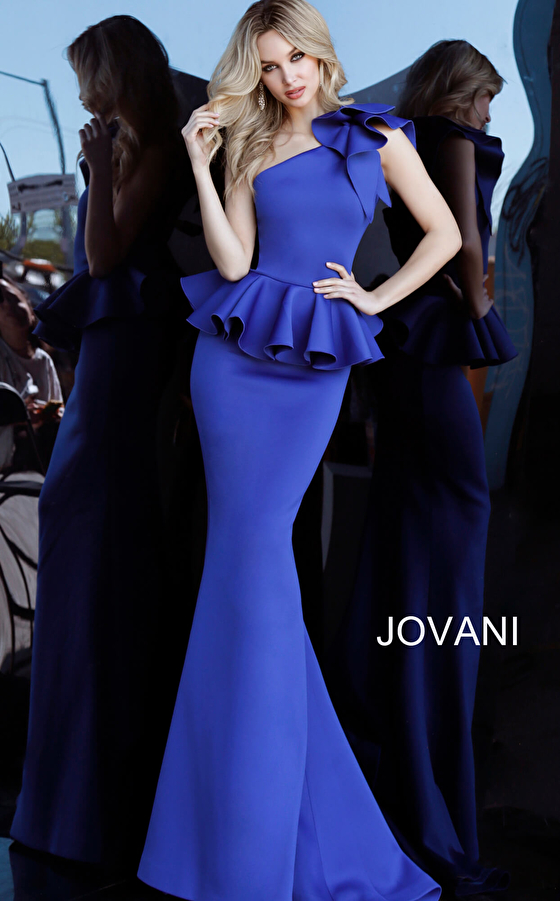 Jovani 63584 Royal One Shoulder Peplum Evening Dress