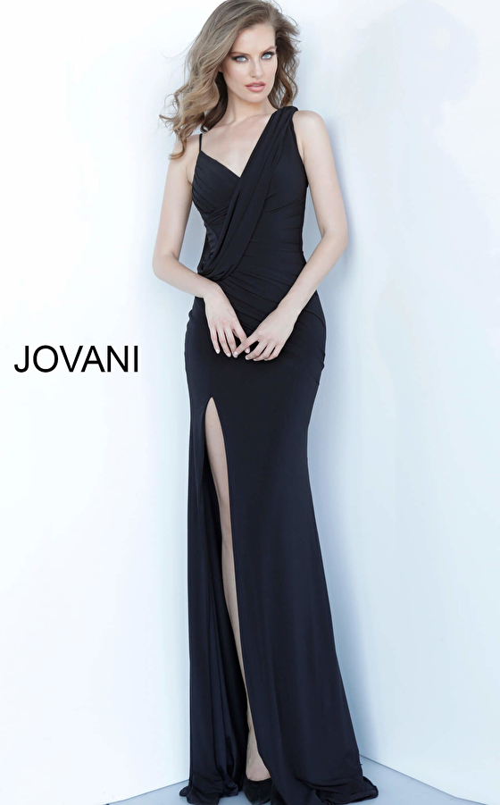 Jovani 65404 Black Drape Bodice V Neck Evening Dress
