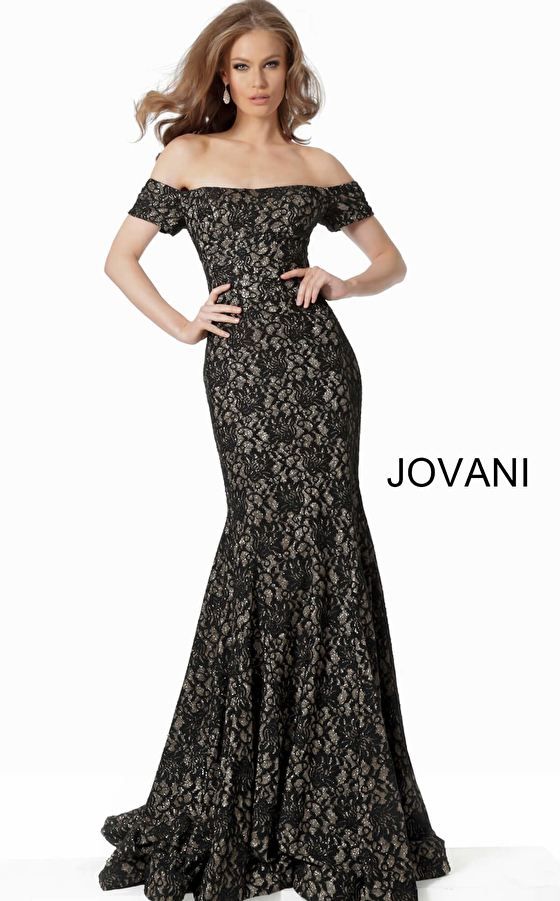Jovani 66305 Black Off the Shoulder Fitted Lace Evening Dress