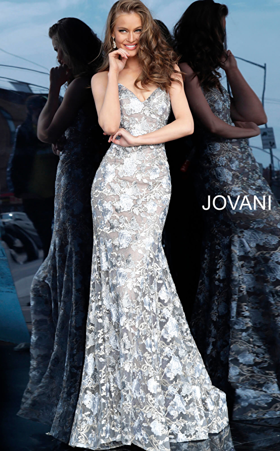 Jovani 67330 Silver Nude Strapless Fitted Lace Evening Dress
