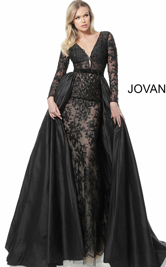 jovani Jovani 67466 Plunging Neckline Long Sleeve Mother of the Bride Gown