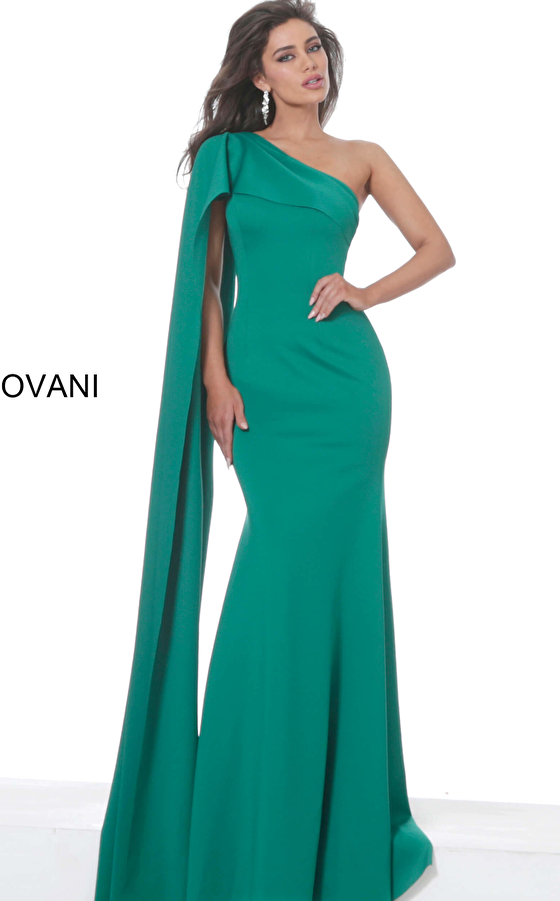 Jovani 67850 Green One Shoulder Fitted Evening Dress