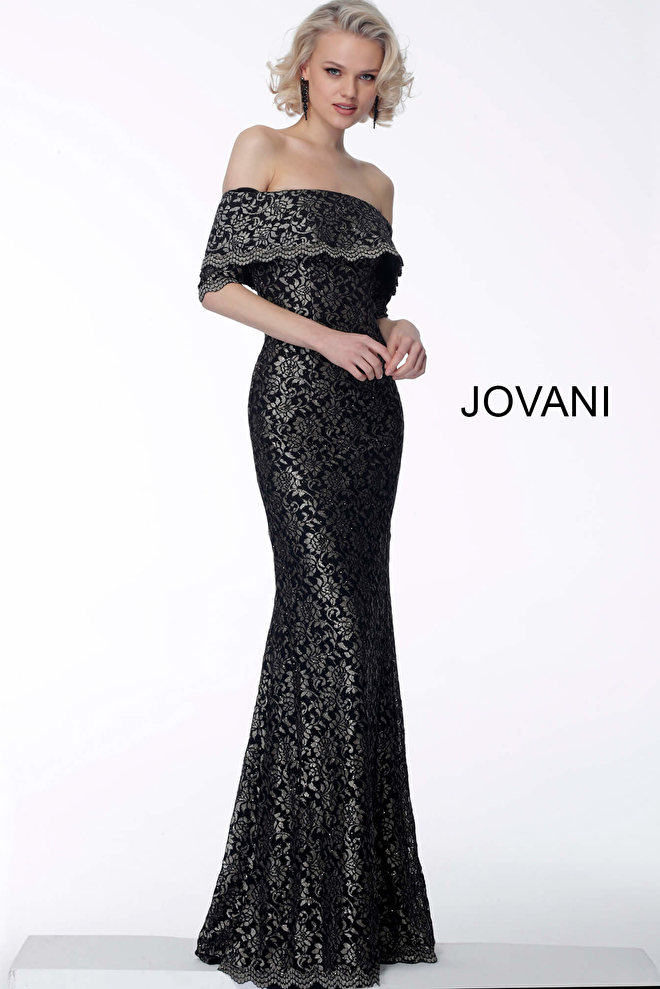 770b0653a2a6 black and gold off the shoulder fitted mermaid evening dress