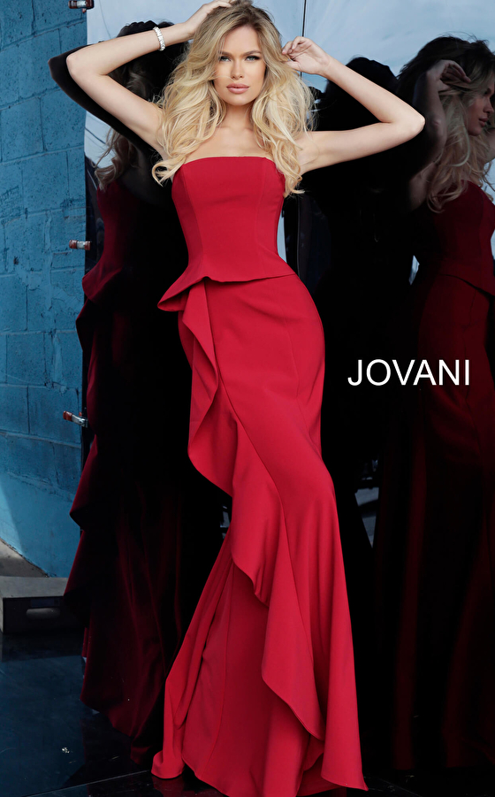 Jovani 68766 Red Strapless Straight Neck Evening Dress