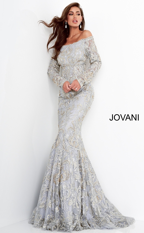 Silver gold long sleeve mother of the bride dress Jovani 68777