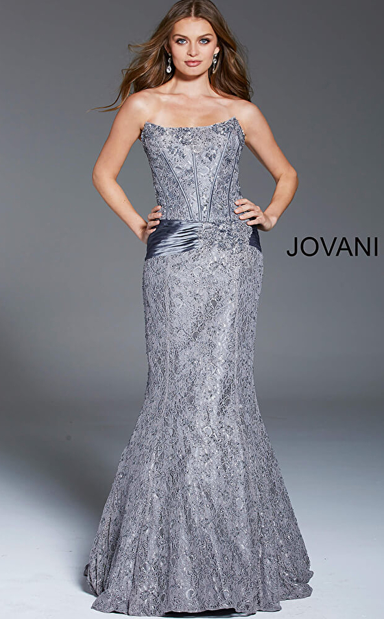 Jovani 7732 Gunmetal Strapless Mermaid Evening Dress