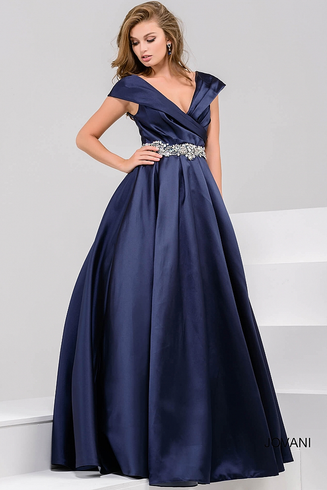jovani Navy Off the Shoulder Pleated Evening Ballgown 25190