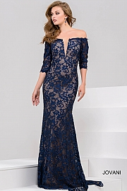 Navy Lace Off the Shoulder Evening Dress 28131