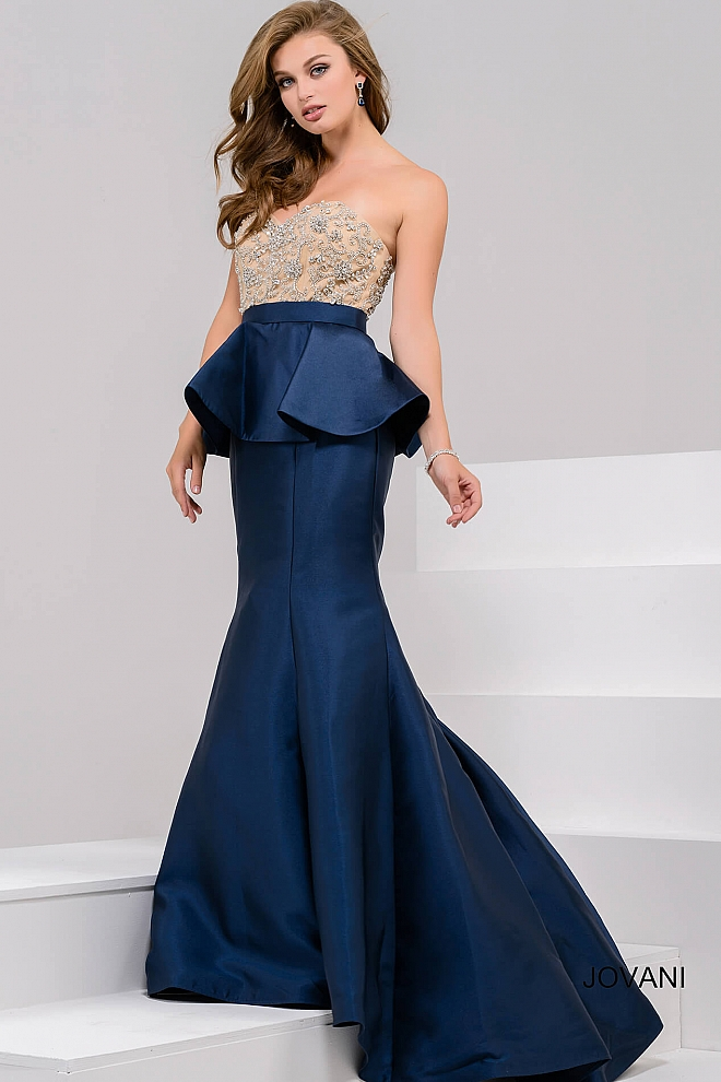 jovani Navy Embellished Strapless Bodice Mermaid Evening Gown 33320