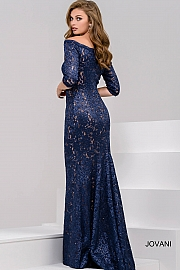 Midnight Navy Fitted Off the Shoulder Lace Evening Dress 34072