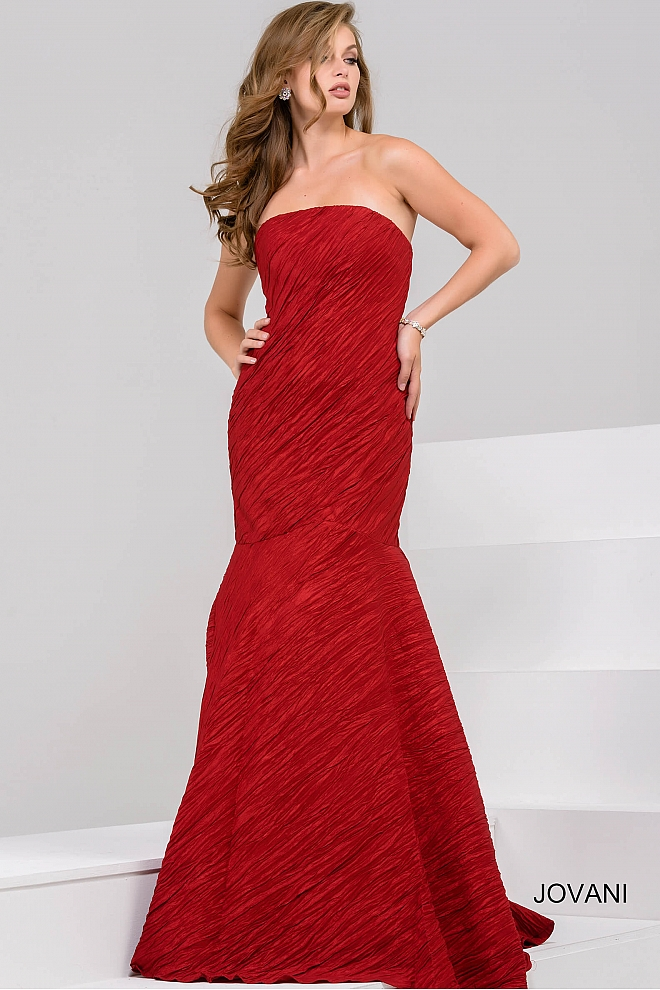 Red Strapless Mermaid Evening Gown 37102
