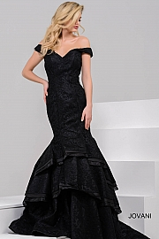 Black Off the Shoulder Mermaid Evening Gown 39827