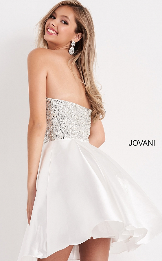 Off White Fit and Flare Strapless Jovani Kids Dress K00722
