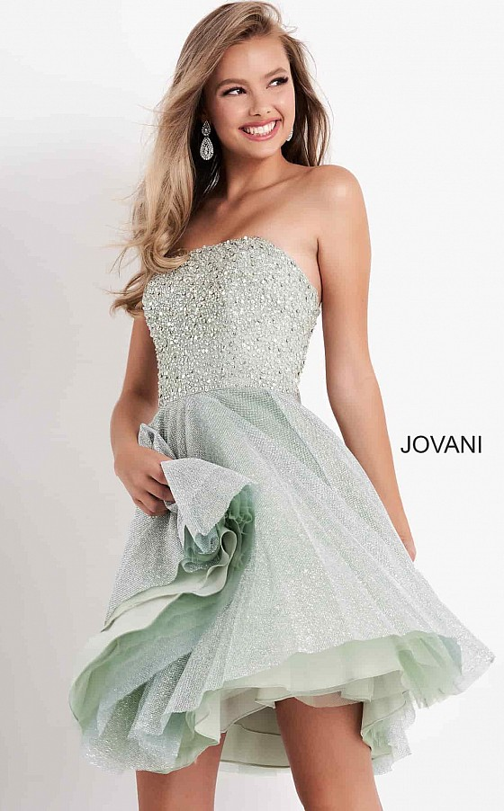 jovani Mint Strapless Short Kid Dress K04445