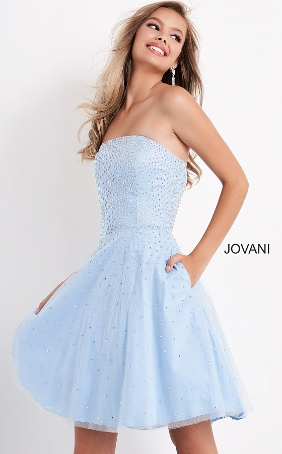 jovani Lavender Strapless Fit and Flare Beaded Girls Dress K68936