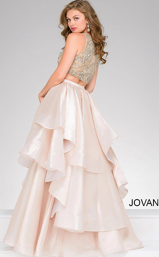 Blush Two Piece Beaded Bodice Pageant Dress 36636