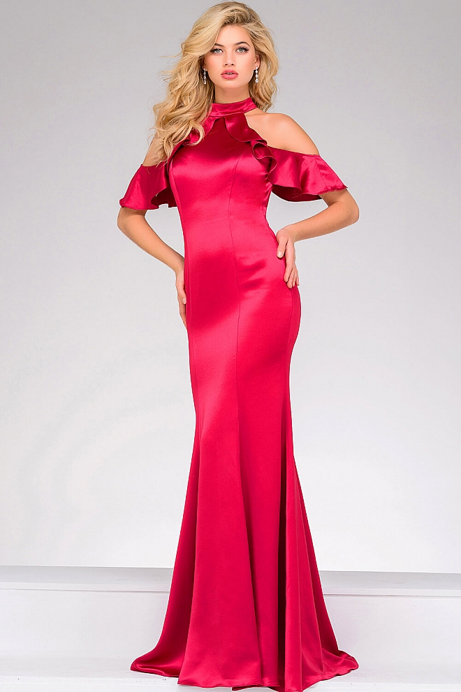 Red Off the Shoulder Satin Prom Dress 50172