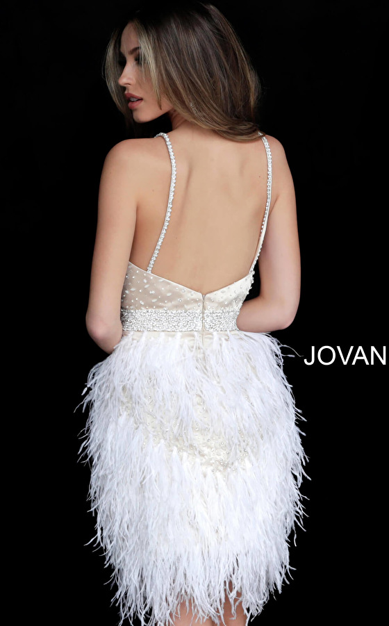 Nude off white short Jovani dress 1729