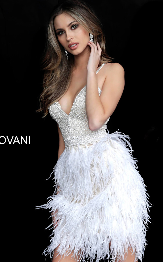 Nude off white V neck Jovani cocktail dress 1729