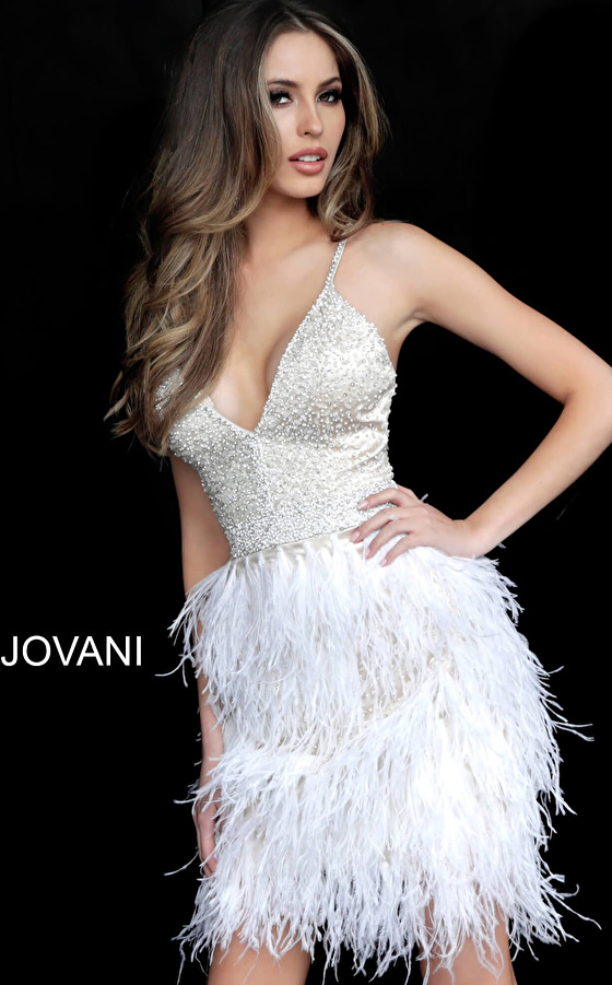 Sheath nude off white cocktail dress Jovani  1729