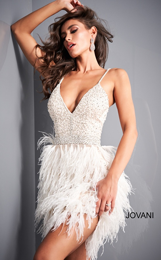 Feather skirt nude off white cocktail dress Jovani 1729