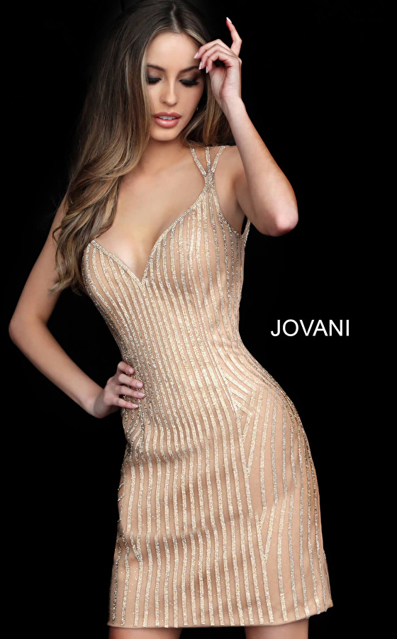 Jovani sweetheart neck gold short dress 2570