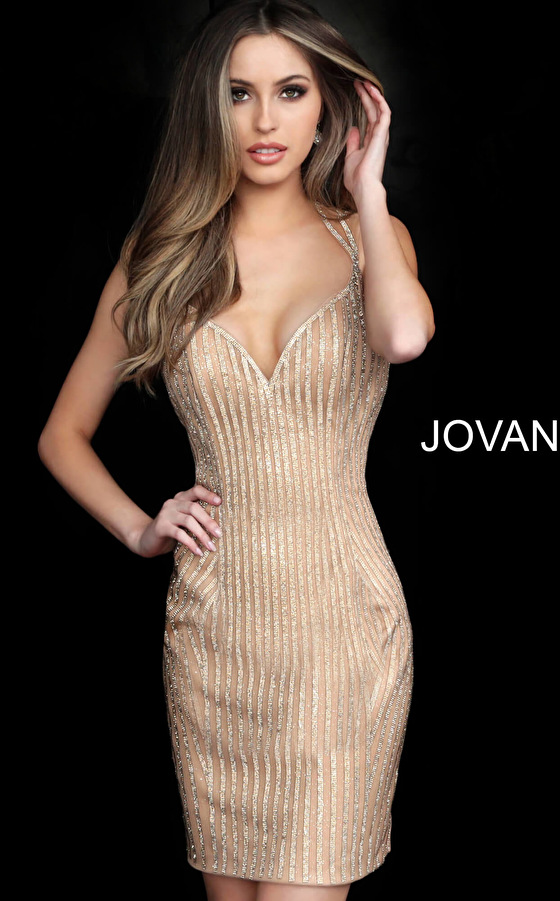 jovani Jovani 2570 Gold Open Back Fitted Embellished Short Dress