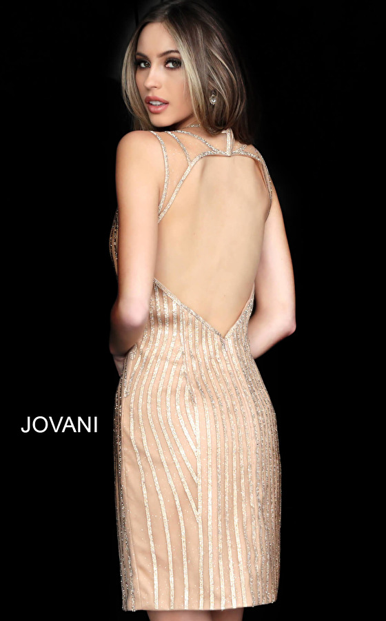 Gold beaded open back bodycon dress 2570
