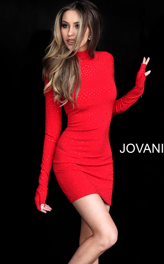 Jovani 3049 Red Fitted High Neck Beaded Short Dress