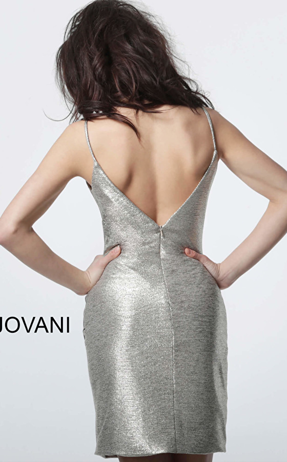 Jovani short fitted silver cocktail dress 4550