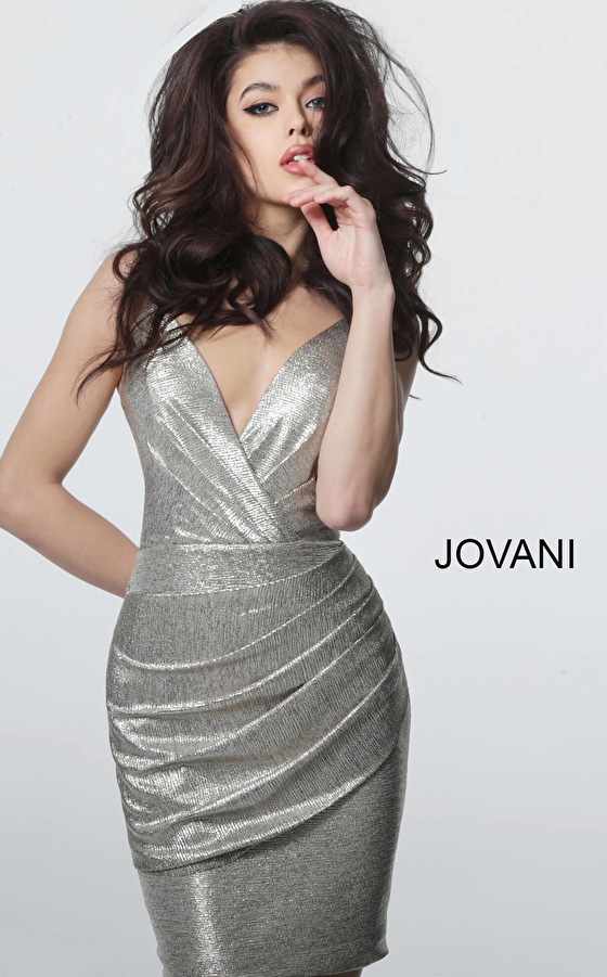 Jovani silver spaghetti strap fitted cocktail dress 4550
