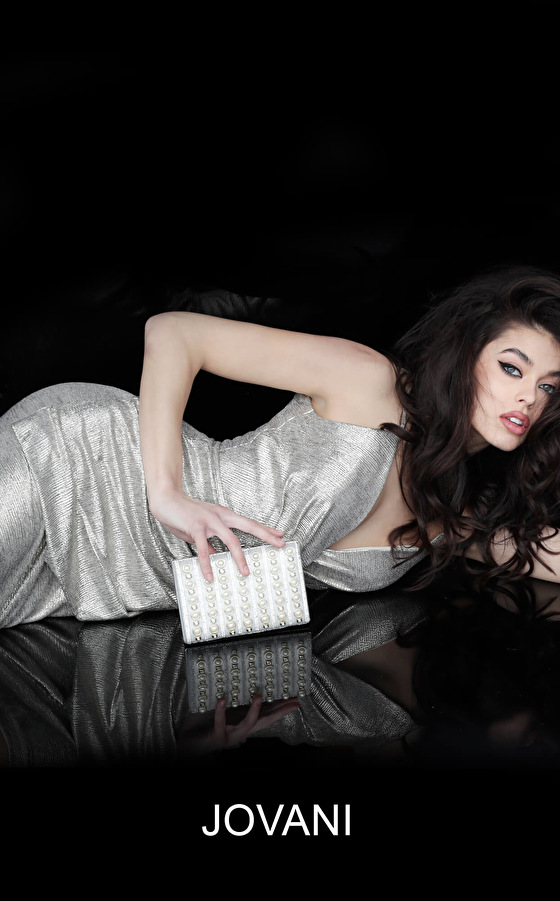 Jovani ruched sexy silver cocktail dress 4550