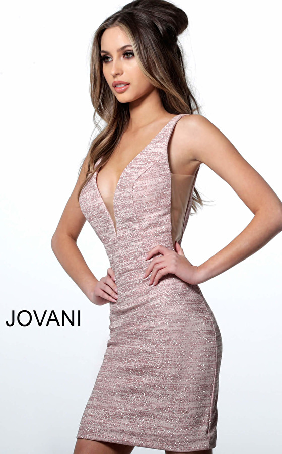 Jovani 45810 Blush Low V Neck Sleeveless Glitter Short Dress