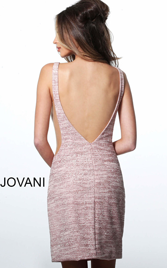 Blush glitter jersey fitted cocktail dress 45810