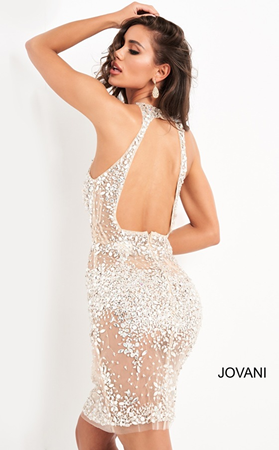 Jovani 64005 Silver Nude Beaded Sheer Cocktail Dress