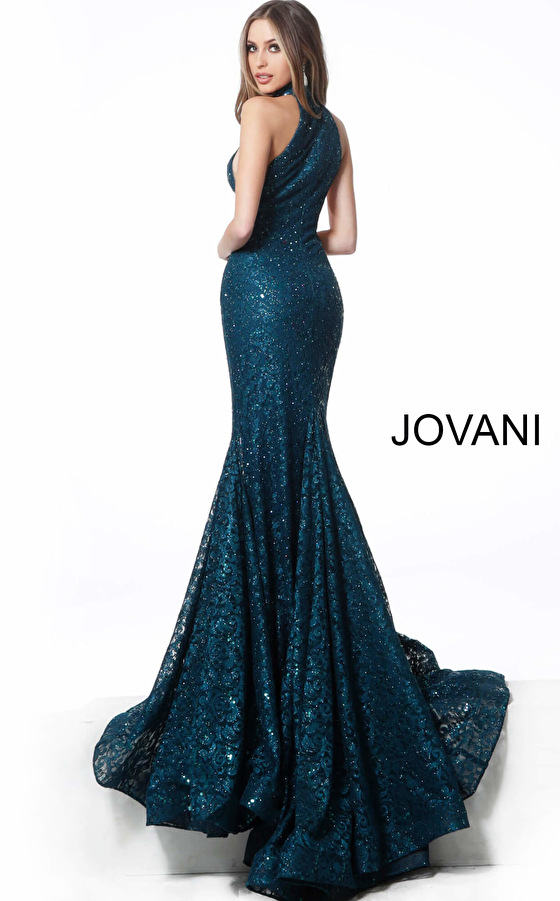 peacock lace fitted prom dress 64522