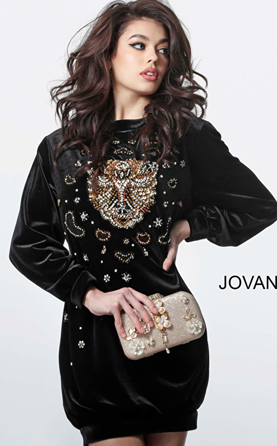 Jovani M1151 Black Velvet Embellished Long Sleeve Short Dress