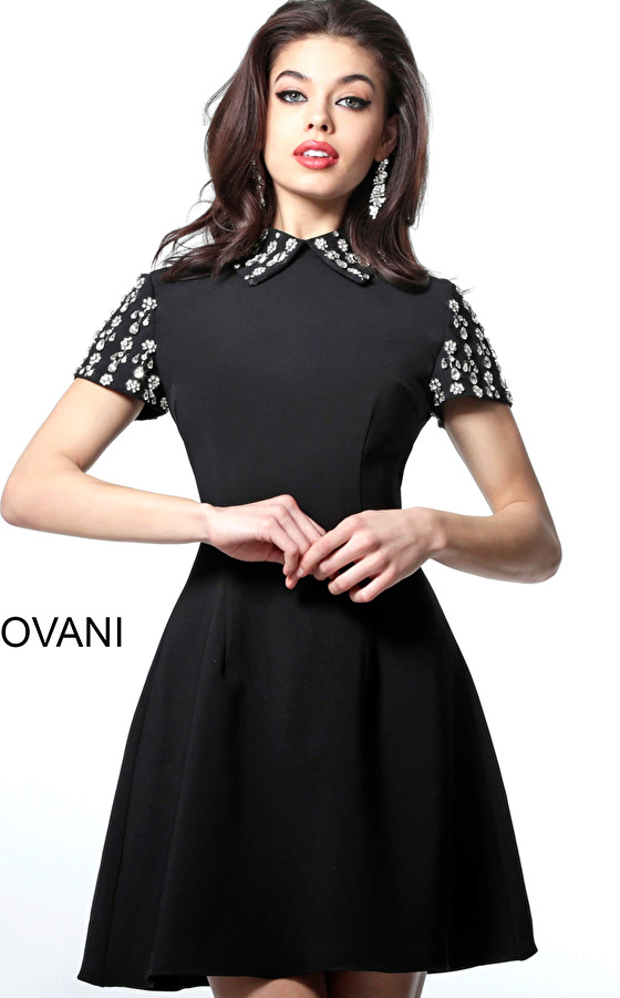 Black Short Embellished Sleeves Cocktail Dress M1697