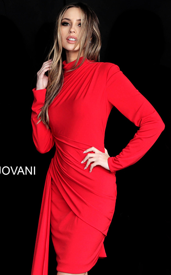 Red Long Sleeve High Neck Cocktail Dress M3362