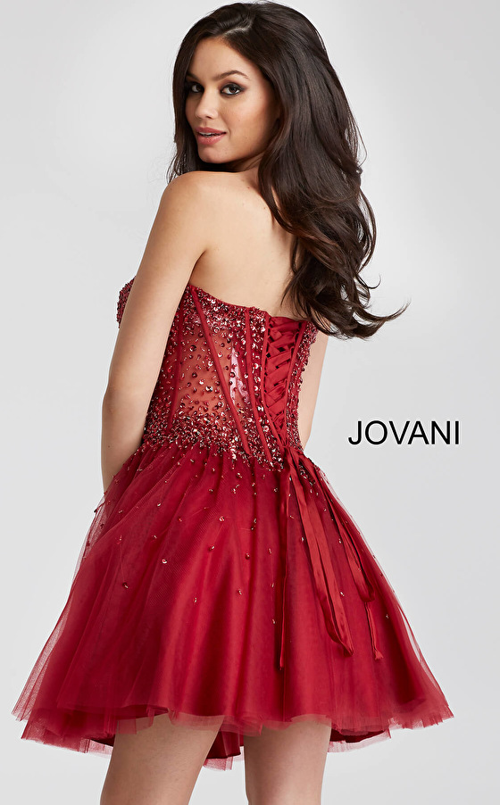 Jovani burgundy corset strapless fit and flare short dress 55142