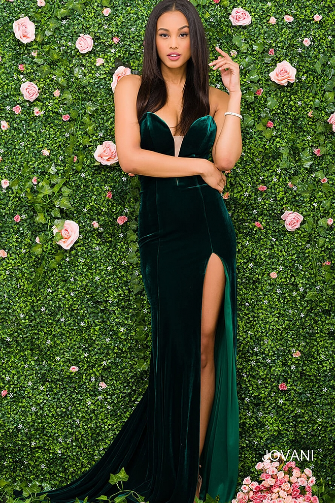 Jovani 46920 Dark Green Sweetheart Neck With Plunging Neckline